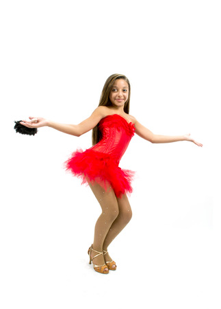 Beautiful dancer with Spanish red dress and fan photo