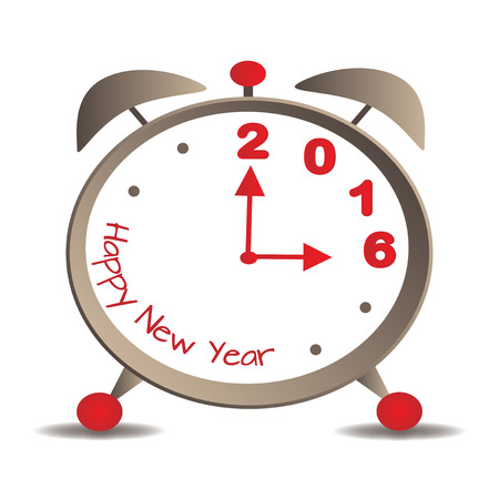 1 january: The hands of the alarm mark the arrival of the new year - 2016