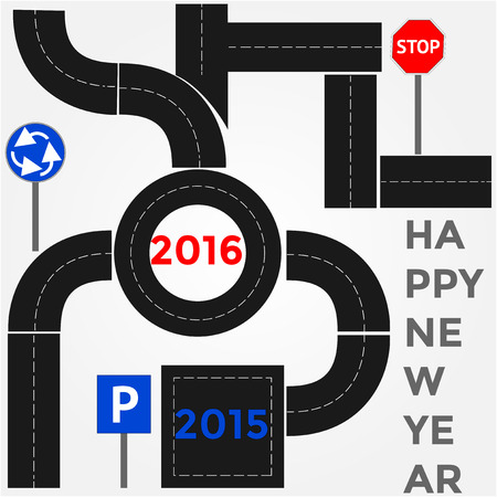 1 january: Abstract Illustration - a route with new 2016