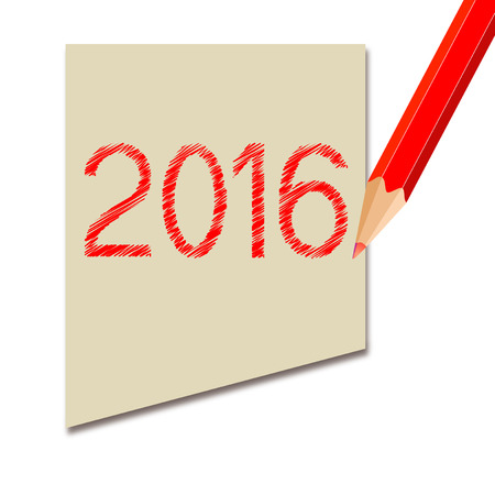 futures: background with notes and red pencil and year 2016