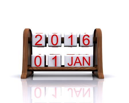 january 1: 3D illustration - dates, January 1, 2016, new year