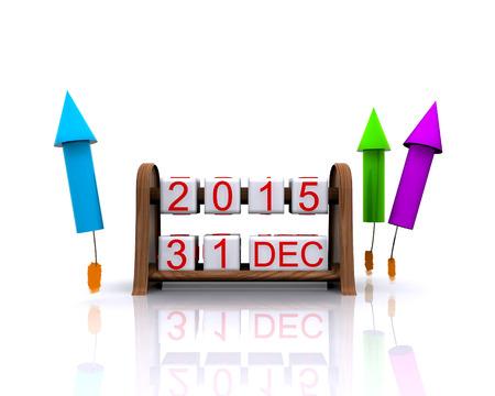 3D illustration - dates, January 1, 2016, new year illustration