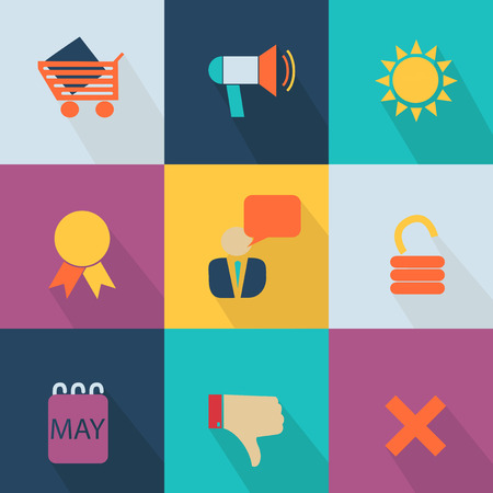 escarapelas: Icono de negocios estilo web 2.0 colorido