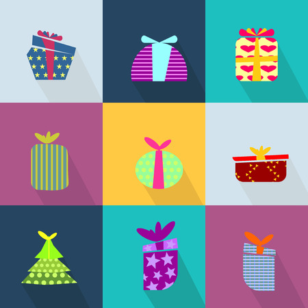 brightly: Icons set with brightly colored gift boxes