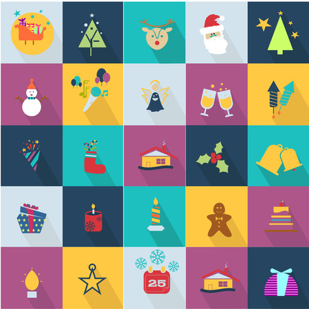 twenty six: Christmas icons set with objects typical of the party