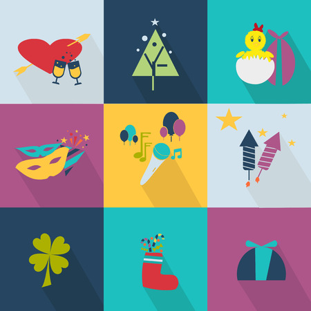 valentine musical note: Set of icons for the holiday web 2.0 style