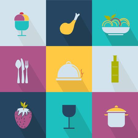 food icons: Set of food icons Web 2.0 style Illustration