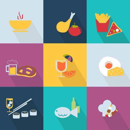 finger fish: Set of food icons Web 2.0 style Illustration