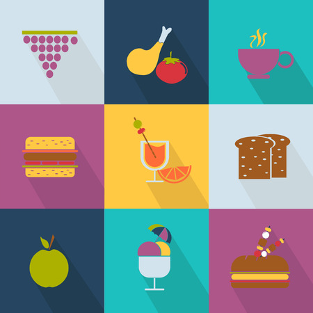 Set of food icons Web 2.0 style Vector