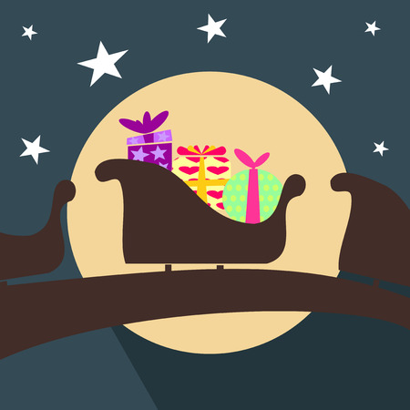 Illustration Christmas sleigh with Santa Claus and gifts Vector