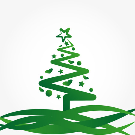 decorated christmas tree: Christmas background with decorated christmas tree Illustration