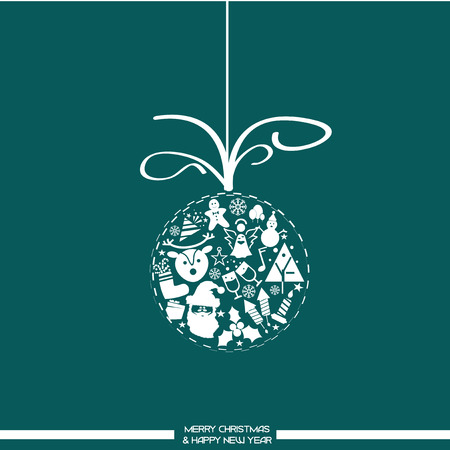 Christmas background with balls and icons typical of the feast Vector