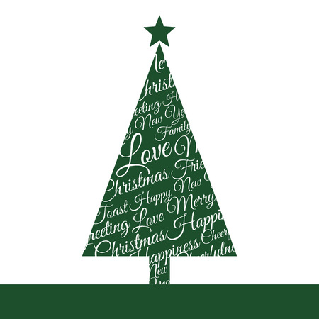 Christmas tree made up of phrases and dedications Vector