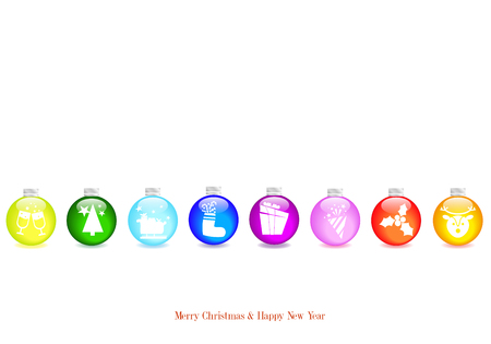 brightly: Christmas background with white balls brightly decorated Illustration