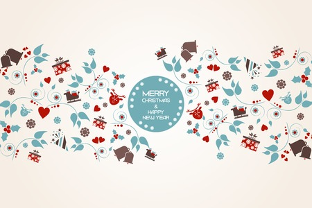 Vintage Christmas background with floral and central crest