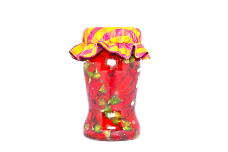 glass jar: Glass jar rustic with hot pepper