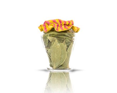 glass jar: Rustic glass jar containing dried sage Stock Photo
