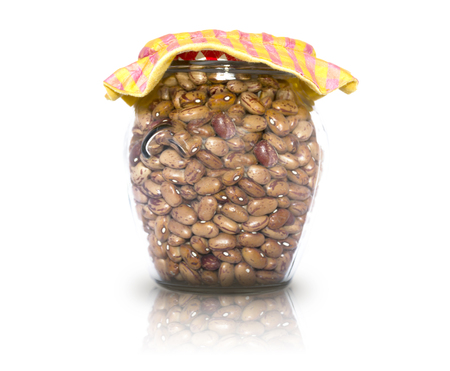 glass jar: Glass jar containing rustic beans Stock Photo