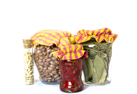 southern: Glass jars with rustic stopper encased in cloth Stock Photo