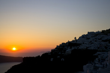 love dome: Spectacular romantic sunset seen from the island of Santorini