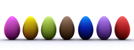 decorated eggs: Cheerful Easter background with colorful decorated eggs Stock Photo