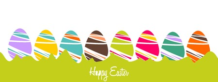 decorated eggs: Cheerful Easter background with colorful decorated eggs Illustration