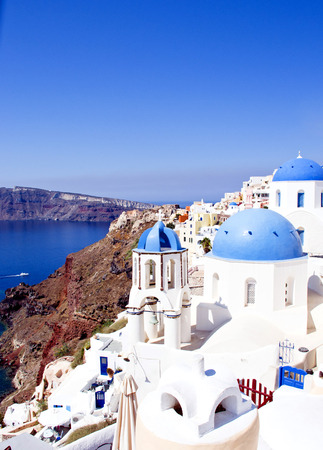Santorini famous scene with the three domes