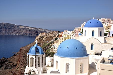 domes: Santorini famous scene with the three domes