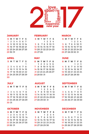 1 january: Colorful calendar for the new year - 2017