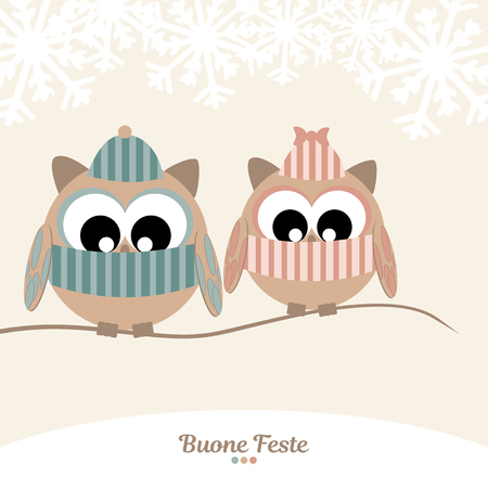 Pair of owls with scarf and hat