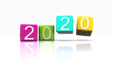 new year 2020 written on the dice