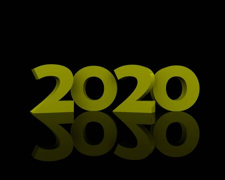 2020 in gold on a black background Banque d'images