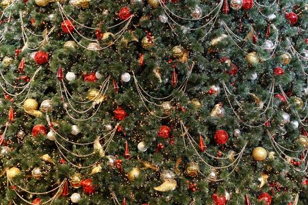 greenish: Christmas tree background with many decorations