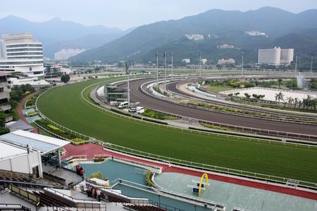 animal tracks: Horse racing course in Hong ong, Sha Tin  Stock Photo