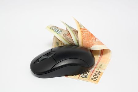 shopping buggy: Using money online by mouse Stock Photo