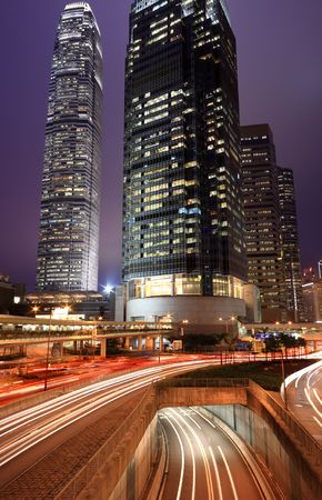 Hong Kong Night with car light blur photo