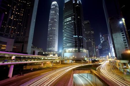 Traffic in Hong Kong at night Stock Photo - 6134495