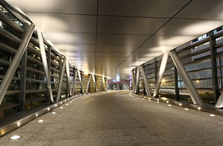 a modern flyover at night