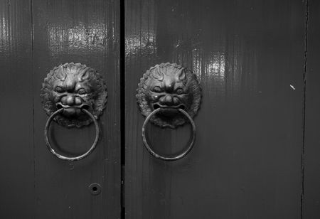 antique oriental door knocker photo