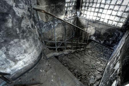 High Dynamic Range Image of a Burned Out building, stair Stock Photo - 6320619