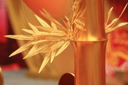 chinese new year scene, man-made golden bamboo photo