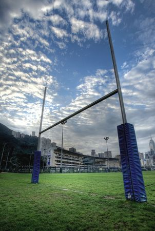 rugby team: rugby goalposts in HDR