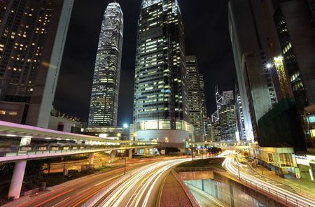 traffic through downtown in Hong kong Stock Photo - 6320610