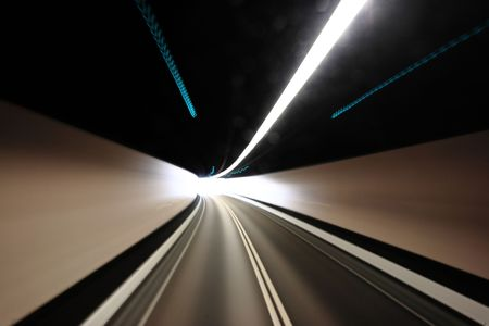 highway tunnel , motion blured photo