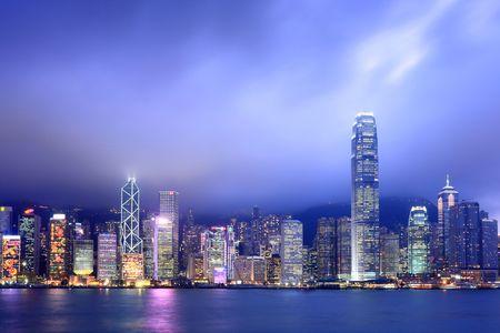 hong kong night: Hong Kong skyline at night