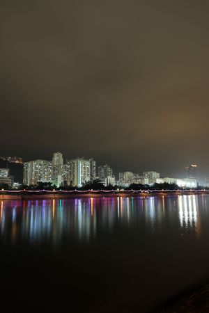 Hong Kong public housing and river   photo