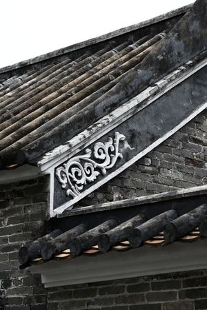 a details of chinese building roof photo