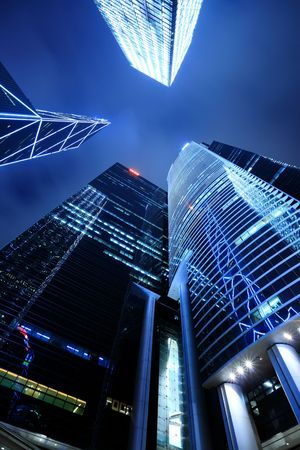 high rises: Business buildings at night