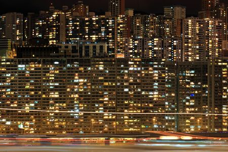 Apartment block at night, Hong, Kong Stock Photo - 6519675