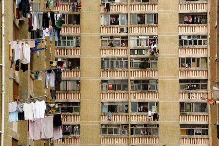 public apartment block in Hong Kong, China photo